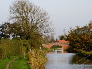 bridge over Chesterfield canal in Misterton village on an autumn day landscape